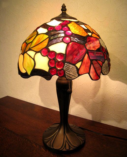 照明 ステンドランプ おしゃれ スタンド ベース ステンドグラス ランプ 照明器具 ステンドガラス 葡萄 ぶどう スタンドライト テーブルランプ 贈り物 母の日 プレゼント【送料無料】ステンドグラス ランプEM-108/葡萄