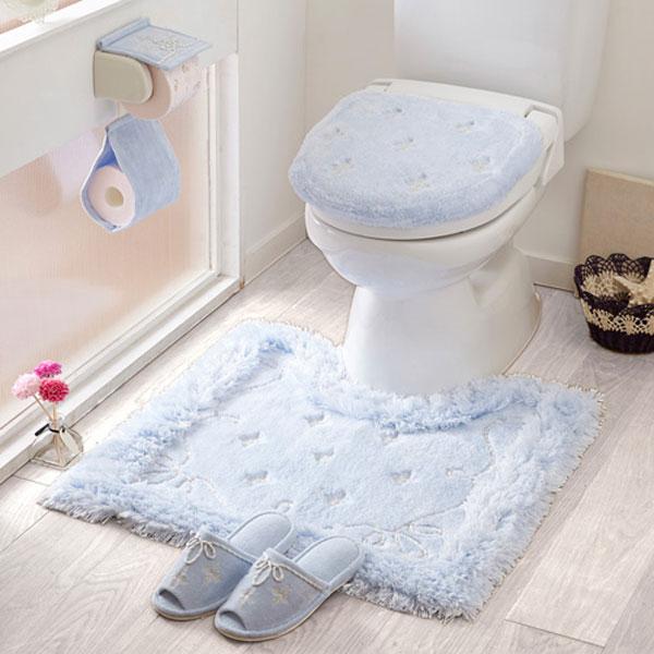 【セット商品】プロローグトイレ2点セット(マット&特殊フタカバー)/ブルー