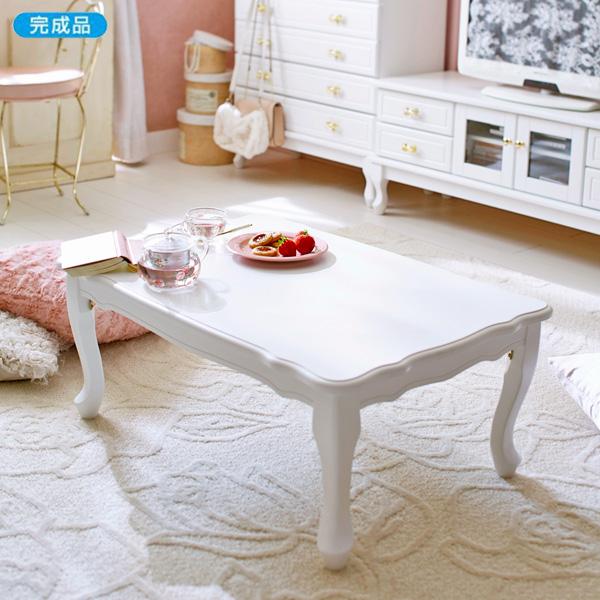 猫脚折りたたみテーブルYB1 大・引出無 ホワイト (hocola)  【直送】