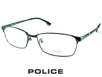 チタン/シャイニーダークネイビーシャープなスクエア/ POLICE ポリス めがねフレーム VPL940J-0N28 【レンズ付セット】【送料無料】 度付き 眼鏡 伊達メガネ メンズ 度つき uvカット シンプル おしゃれ 飛沫 防止