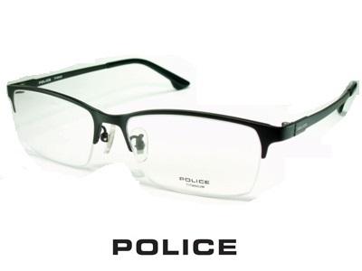 チタン/マットブラック/ハーフリム POLICE ポリス めがねフレーム VPL942J-0BK3 【レンズ付セット】【送料無料】 度付き 眼鏡 伊達メガネ メンズ 度つき uvカット シンプル おしゃれ 飛沫 防止