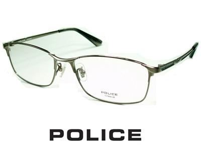 チタン/ビジネススタイル シャープなスクエア/ガンメタル/ POLICE ポリス めがねフレーム VPLB02J-0568 【レンズ付セット】【送料無料】 度付き 眼鏡 伊達メガネ メンズ 度つき uvカット シンプル おしゃれ 飛沫 防止