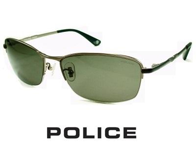 2020 偏光レンズ チタン製 スクエア ハーフリム グレー マットガンメタル POLICE ポリス サングラス SPLA61J-627P 【送料無料】 偏光グラス メンズ UVカット メンズ ブランド おしゃれ オシャレ ドライブ 釣り 夜 ナイト プレゼント