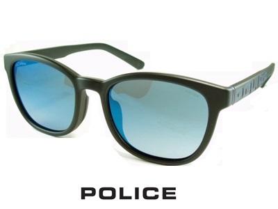 2020 軽量スマートフレーム/偏光レンズ/ラウンドっぽいスクエア/ブルーミラー/ダークグレー/マットブラック POLICE ポリス サングラス POLICE SPLA69J-U28P 【送料無料】メンズ UVカット ブランド オシャレ ドライブ リゾート クール 飛沫 防止