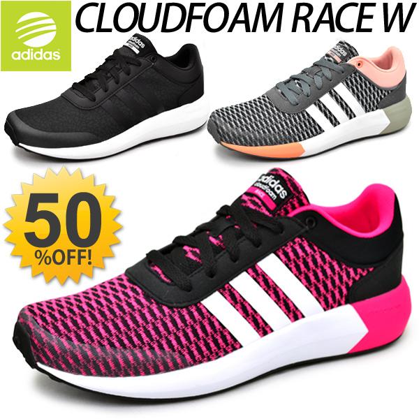 阿迪達斯阿迪達斯新標籤婦女的運動鞋鞋雲形式 CLOUDFOAM 種族 W 跑步鞋走休閒女裝網輕型緩衝 /AW5286/AW5287/AW5288