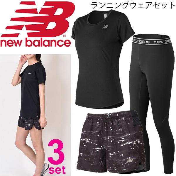 ランニングウェア 3点セット レディース/newbalance ニューバランス 半袖Tシャツ ショートパンツ ロングタイツ AWT73128 JWSR8629 AWP81182/スポーツウェア 女性 マラソン トレーニング/NBset-K