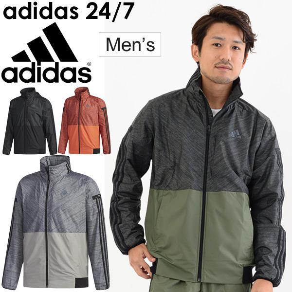ウインドブレーカー ジャケット メンズ/アディダス adidas 24/7 ウィンドジャケット 裏起毛/スポーツウェア 男性用 アウター 防寒 保温 ウインドブレイカー 上着 ジャンバー/FKK22