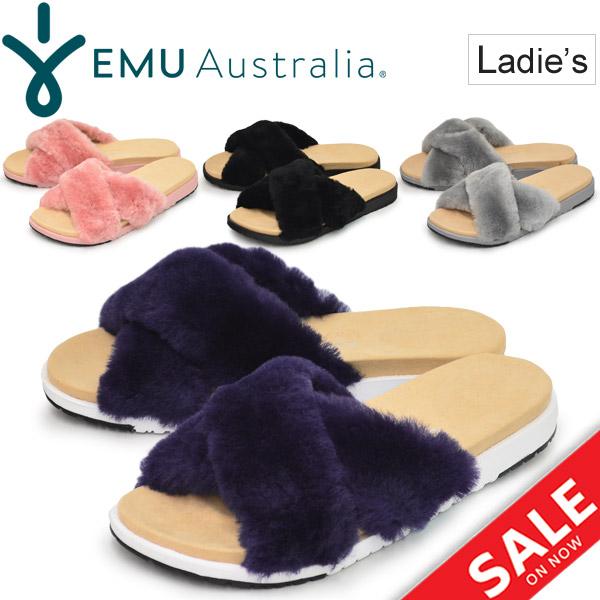 ファーサンダル レディース エミュ EMU Australia ROBE スライドサンダル 女性用 おしゃれ もふもふ ふわふわ かわいい ぺたんこ コンフォート 羊革毛 正規品/W11880