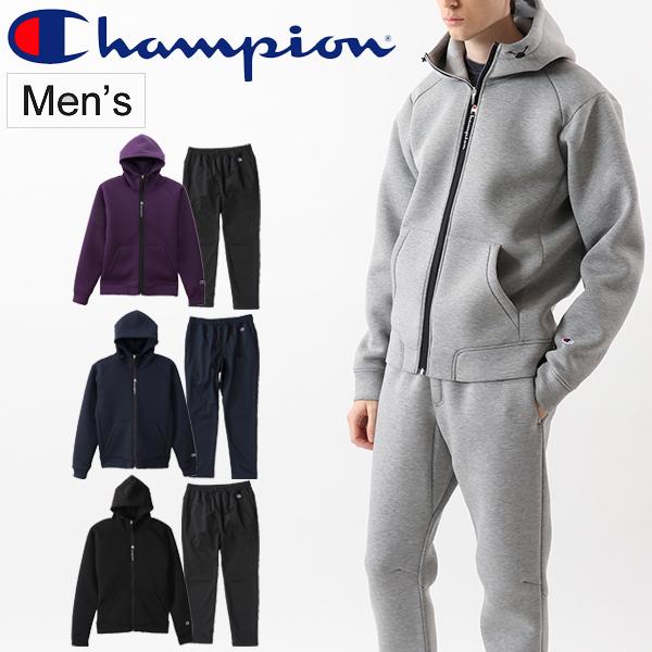 スウェット 上下セット メンズ チャンピオン champion ジップフードジャケット パンツ 上下組 スエット スポーツウェア 軽量 保温性 ストレッチ性 男性 セットアップ 普段使い/C3-QS107-C3-QS204