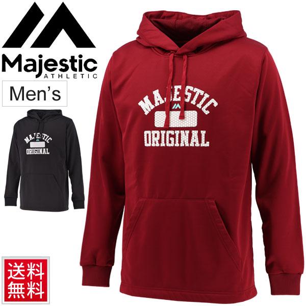 スウェット パーカー メンズ マジェスティック Majestic プロモデル フーディー タイプ4/スポーツウェア 裏フリース プルオーバー スエット 野球 トレーニング ビッグロゴ 男性 練習 部活 トップス/XM06MJ9F04