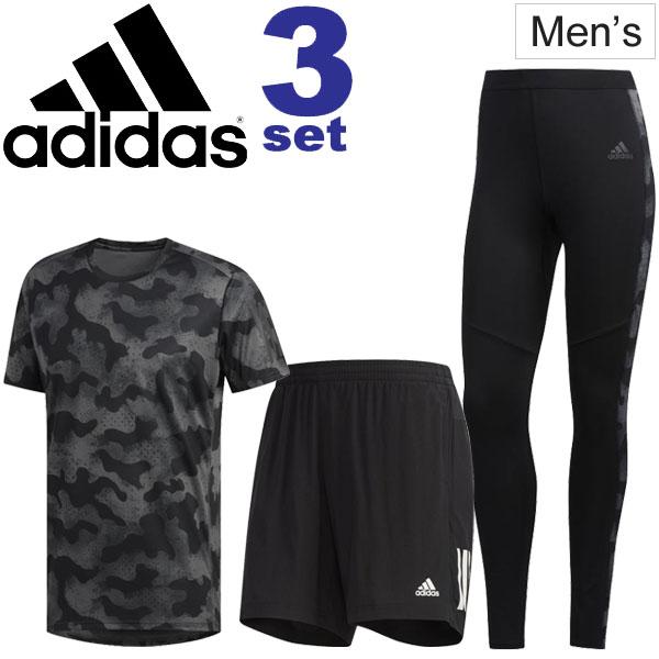 ランニングウェア 3点セット メンズ アディダス adidas 半袖Tシャツ ショーツ ロングタイツ 男性 スポーツ トレーニング ウェア マラソン ジョギング セットアップ FTZ24(FJ3876) FYR32(DZ8969) GDO71(EC5549) /adiset-O