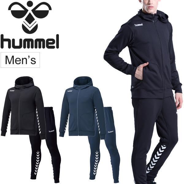 スウェット 上下セット メンズ ヒュンメル hummel スエット フーデッドジャケット ロングパンツ 上下組/スポーツウェア 男性 セットアップ トレーニング 練習 移動着 吸汗速乾 普段使い/HAP8216-HAP8216P