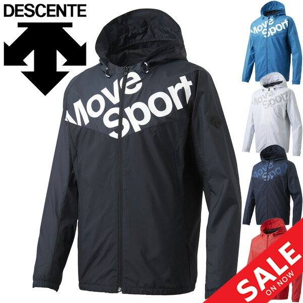 Descente Mens Water Repellent Windbreaker Jacket with Hood