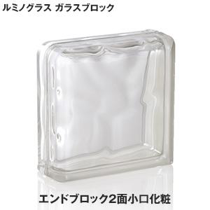 【ガラスブロック】ルミノグラス ガラスブロック コーナーシリーズ エンドブロック2面小口化粧 アピカーレ 【5個入】__g-191908-d-end