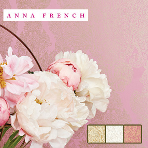 【壁紙】【のり無し】輸入壁紙 繊細なゴールドカラーのダマスク柄 ANNNA FRENCH*AT6102 AT6100 AT6103__tc-