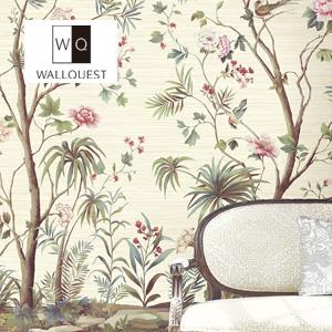 【壁紙】【のり無し】輸入壁紙 花と鳥の可憐な壁画タイプ Wallpower-Classic- WALLQUEST__tc-jb22200m