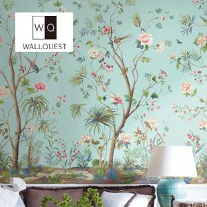 【壁紙】【のり無し】輸入壁紙 花と鳥の可憐な壁画タイプ Wallpower-Classic- WALLQUEST__tc-jb52200m
