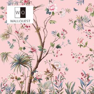 【壁紙】【のり無し】輸入壁紙 花と鳥の可憐な壁画タイプ Wallpower-Classic- WALLQUEST__tc-jb52202m
