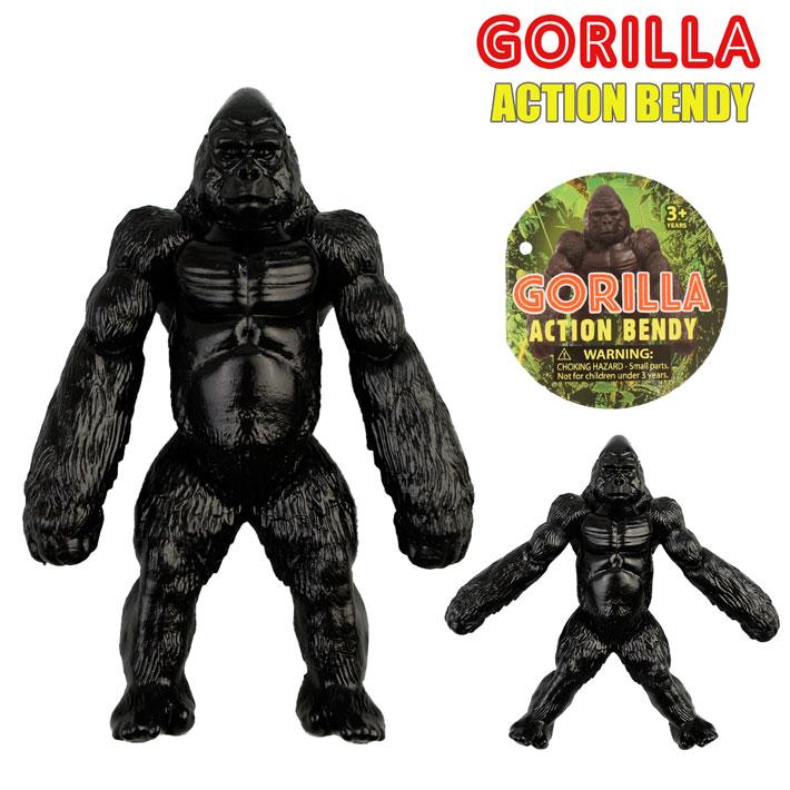 メール便OK! Gorilla Action Bendy 腕も足も自由に動く!ゴリラのおもちゃ くねくね曲がるゴリラのフィギュア 【1個までメール便OK!】Gorilla Action Bendy ゴリラ アニマル 人形 リアル おもちゃ アメリカン雑貨【ポイント】