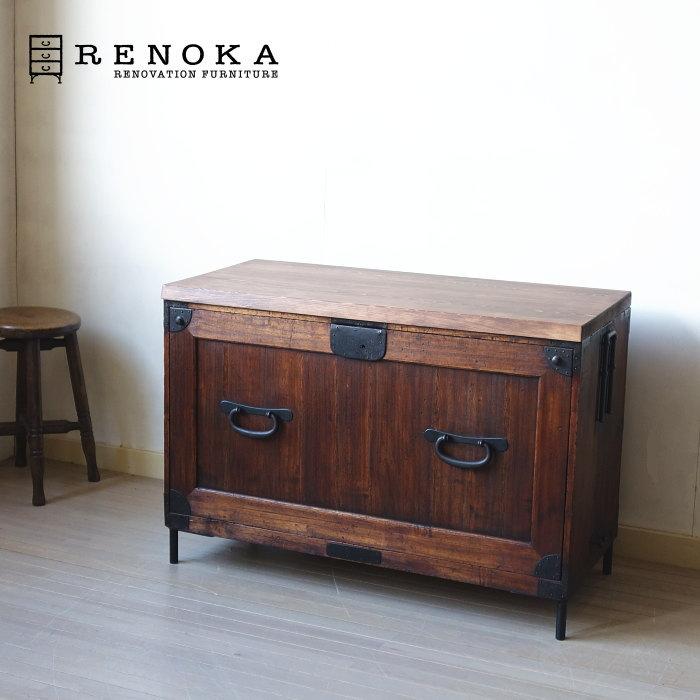 アンティーク ローチェスト RENOKA 戸棚タイプ 3段 古材 鉄脚 ヴィンテージ 無垢材 ウォールナット vintage renovation