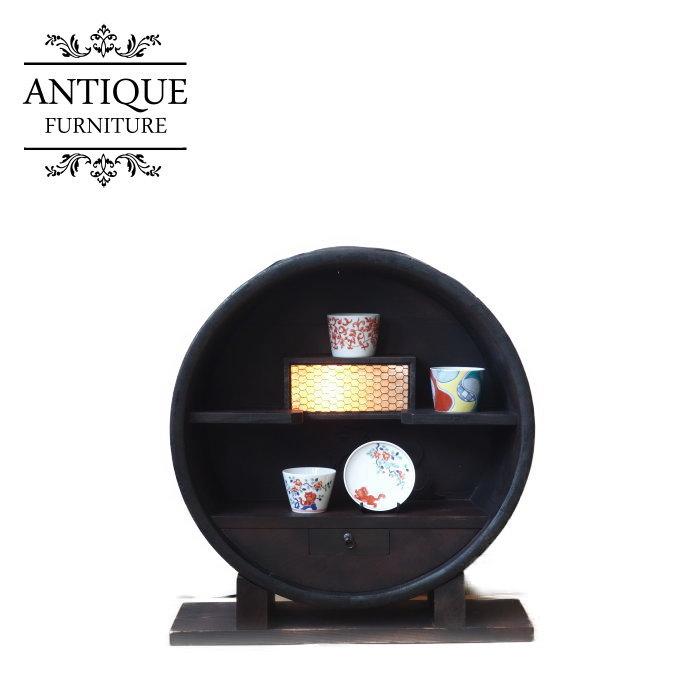アンティーク 古材樽飾り棚 無垢材 ディスプレイ 陳列台【母の日 プレゼント】