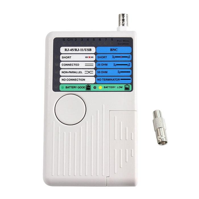 RJ45 RJ11 USB 新色追加して再販 BNC対応の4in1LANケーブルテスターです 2遠隔点からテストすることができます LANケーブルテスター BNC LANケーブル測定器 RJ11-RJ45 4in1 対応 開催中