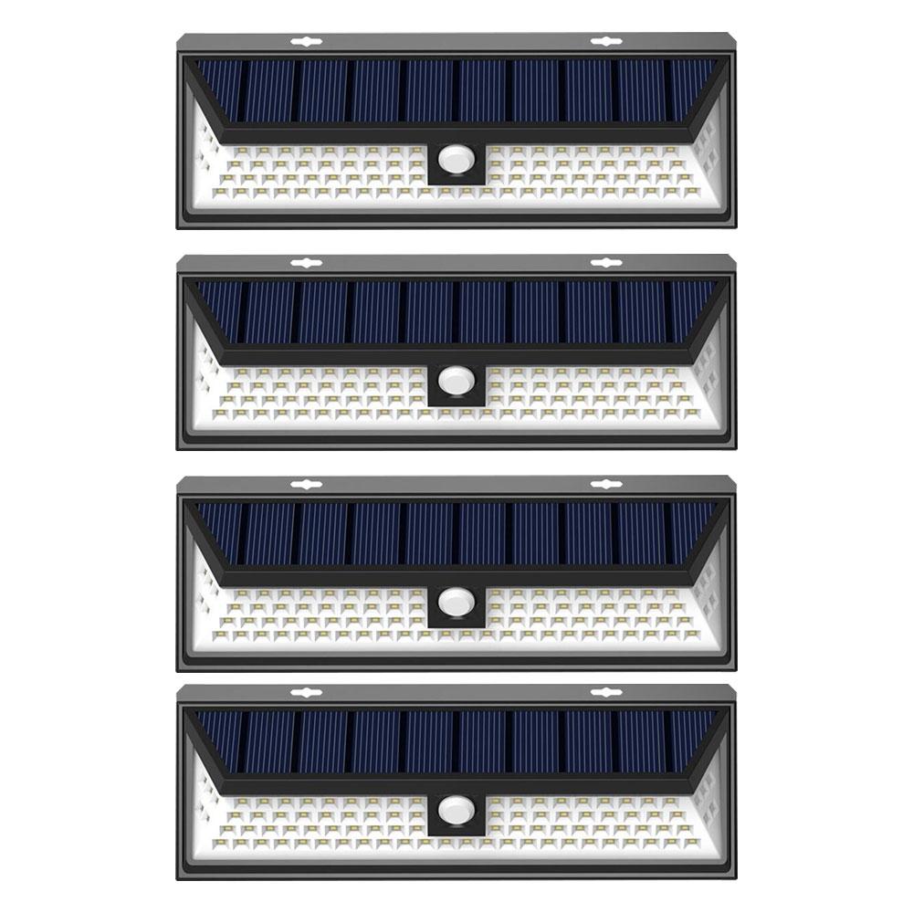 4個セット 90LED ソーラーライト ウォールライト 人感 センサーライト PIR 夜間自動点灯 IP44防水 太陽光充電 屋外 玄関灯 ◇JY1806-90-4SET