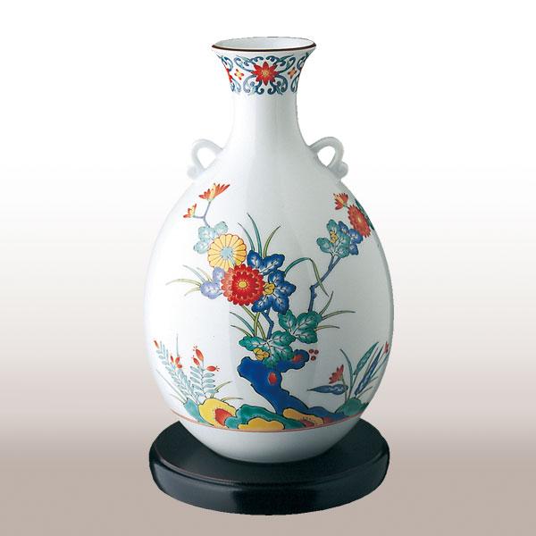 ★694-NDK8色絵岩菊 花瓶【香蘭社】送料無料北海道・沖縄は460円頂きます