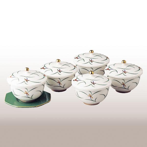 ★W1110-CF(リンドフィールド)蓋付湯のみ5客セット(茶托別売)【香蘭社】