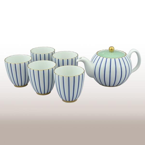 ★2530-AHR(青藍縞紋)茶器セット【香蘭社】送料無料北海道・沖縄は460円頂きます