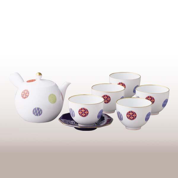 ★1028-AMN(色絵丸紋)茶器セット【香蘭社】