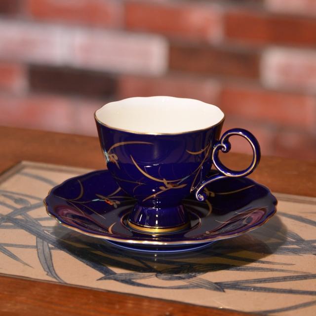 ★R3011-1HQR(ルリ蘭の香)コーヒーカップ&ソーサー【香蘭社】送料無料北海道・沖縄は520円頂きます