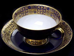 ★R1539-1HE(ルリ金彩地紋)紅茶碗皿【香蘭社】プレゼント/贈り物/敬老の日/母の日/ギフト