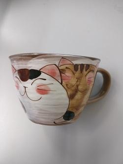 828900450 good friend cat soup porcelain bowls (red)