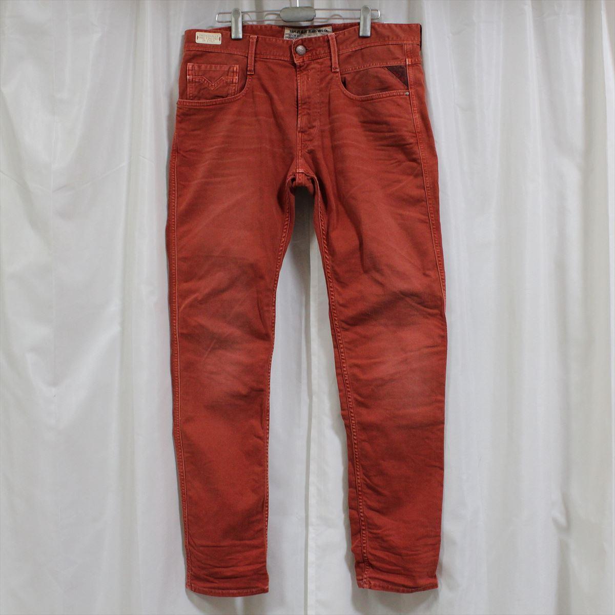 リプレイ REPLAY メンズカラーパンツ ジーンズ デニムパンツ SLIM レンガ色 新品 REPLAY BLUE JEANS anbass slim jeans