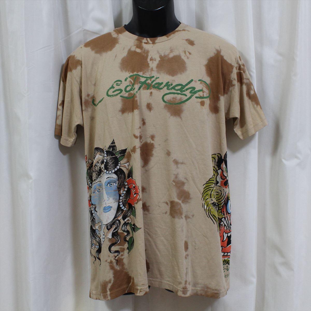 エドハーディー ed hardy メンズ半袖Tシャツ ベージュ 新品