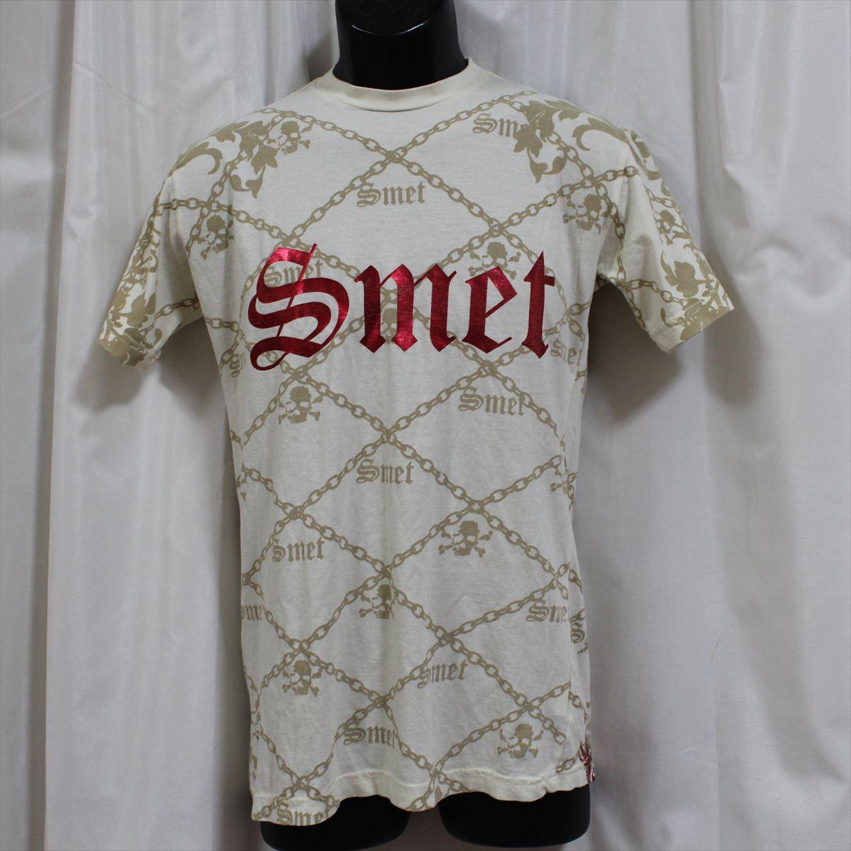 スメット SMET メンズ半袖Tシャツ アイボリー 新品 スカル/ドラゴン