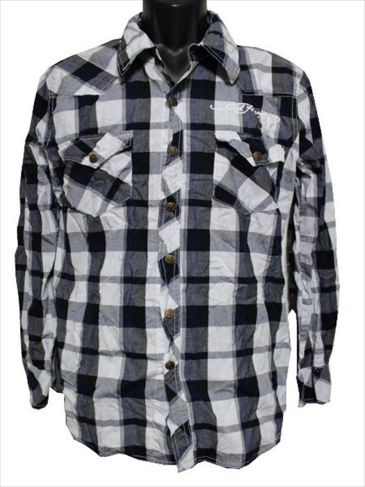 【送料無料】エドハーディー ed hardy メンズ長袖チェックシャツ ネイビーxホワイト M06VCH005 新品