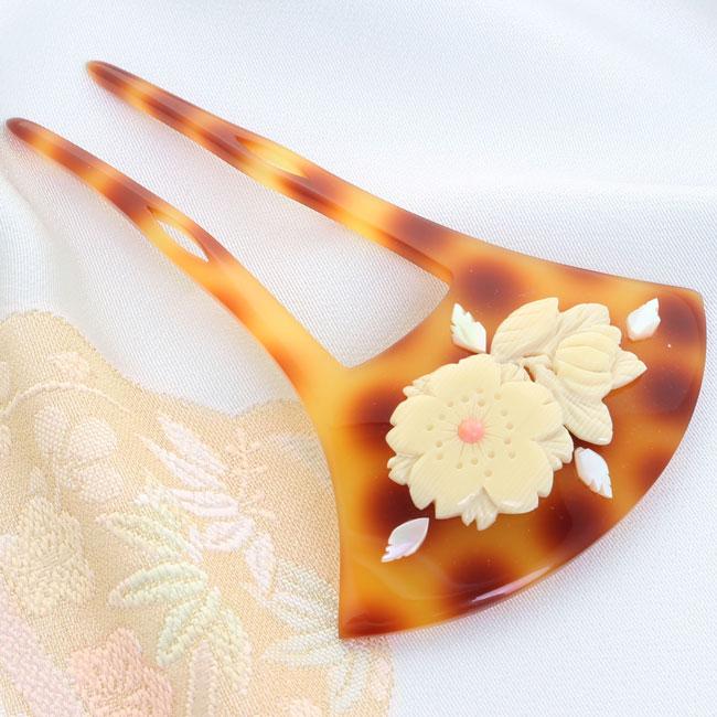 かんざし べっ甲調台 アクリルハーフフィギュア 縞桜 珊瑚風玉螺鈿風葉付き Cバチ型