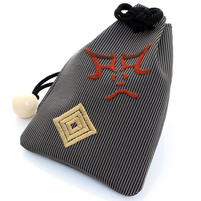 【送料無料】腰袋  高級 日本製 巾着 正絹  縦縞  歌舞伎  隅取り 〈黒〉