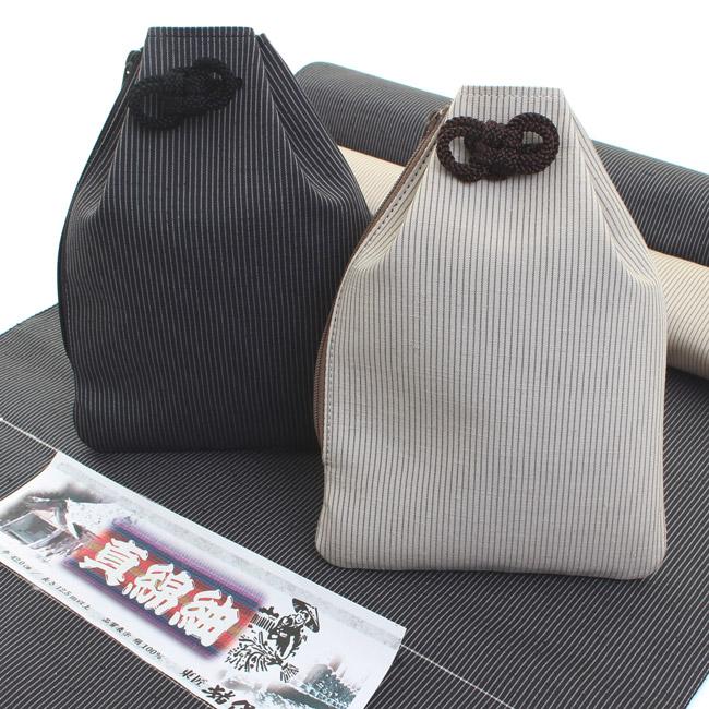 正絹 腰袋 信玄袋 巾着 シルク 日本製 大きめ 正絹紬 Lサイズ 縞〈2種類〉