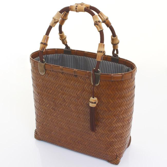 【送料無料】竹籠バッグ 網代編み 楕円柱小1型 巾着:正絹紬〈太縞 グレー×シルバーグレー〉