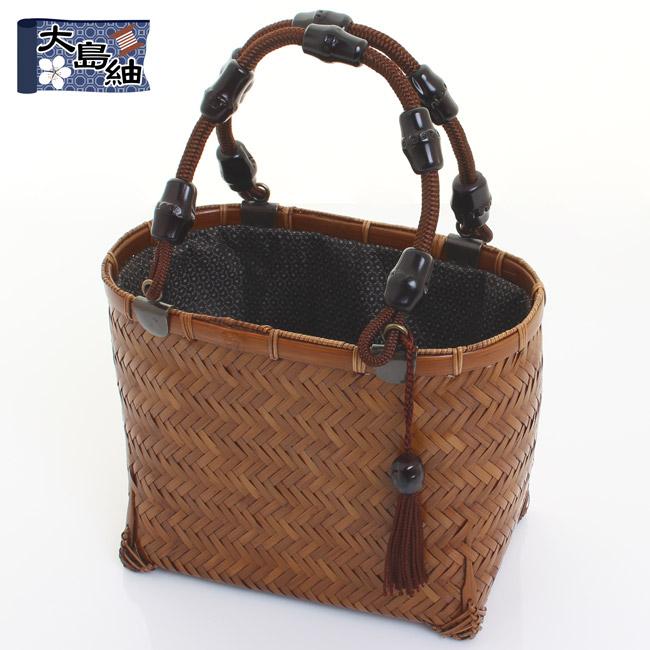 【送料無料】竹籠バッグ 網代編み 楕円柱小2型 巾着:大島紬〈亀甲柄 黒〉