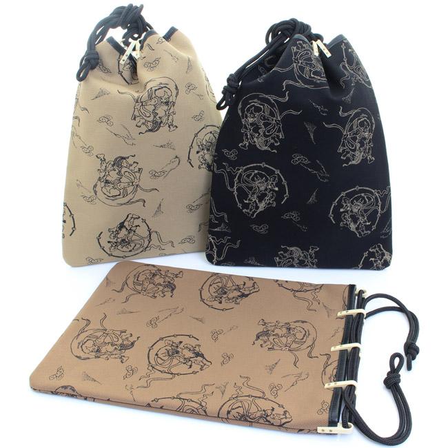 【送料無料】男物 日本製 信玄袋 平型 帆布 牛革縁取り 風神雷神 〈全3色〉