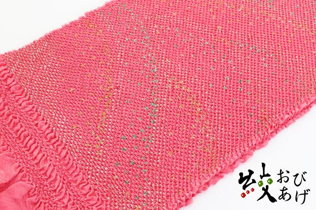 【送料無料】振袖用 和装 成人式 卒業式 結婚式 パーティ 帯揚げ 総絞り 頭金 銀ラメ 彩色ラメ使用 波文〈ピンク〉