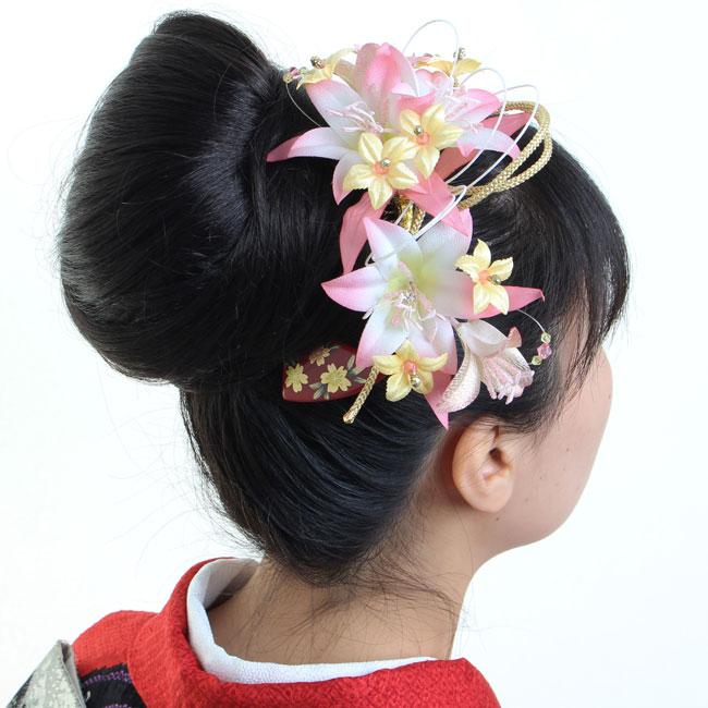 髪飾り 3点セット 和装 花 成人式 卒業式 結婚式 パーティ 浴衣 夏祭り 和modern 銀杏かんざし 百合 〈ピンク〉