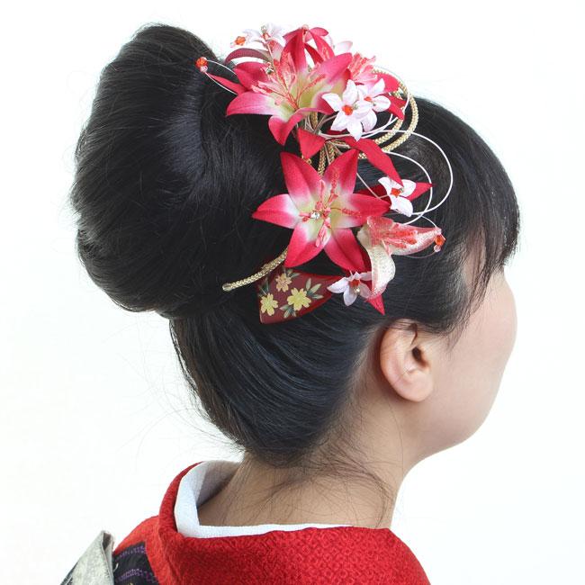 髪飾り 3点セット 和装 花 成人式 卒業式 結婚式 パーティ 浴衣 夏祭り 和modern 銀杏かんざし 百合 〈赤〉