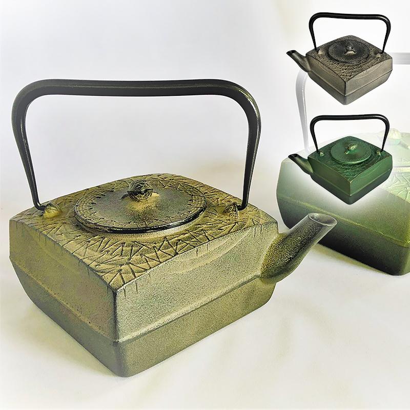【南部鉄器 鋳技】ミニ鉄瓶 正方角松