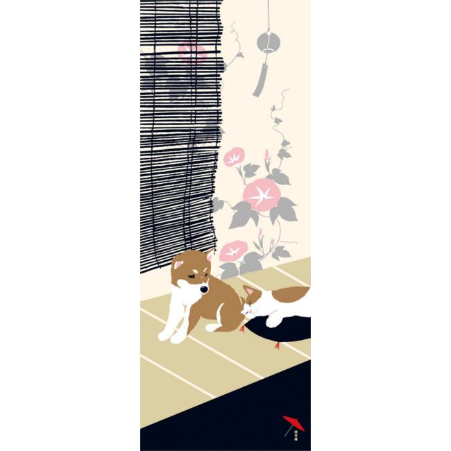 追跡可能メール便 ネコポス 発送 手ぬぐい 正規取扱店 濱文様 豆柴と猫の夏 てぬぐい 日本製 豆柴 猫 ねこ 犬 夏 縦柄 捺染 NEW売り切れる前に☆ eco 晒 手作り お祝い お土産 made_in_japan 伝統 メール便 国内在庫 海外 職人 タペストリー お弁当 ギフト サイズ ハンドメイド 綿100% 外国 インテリア 剣道