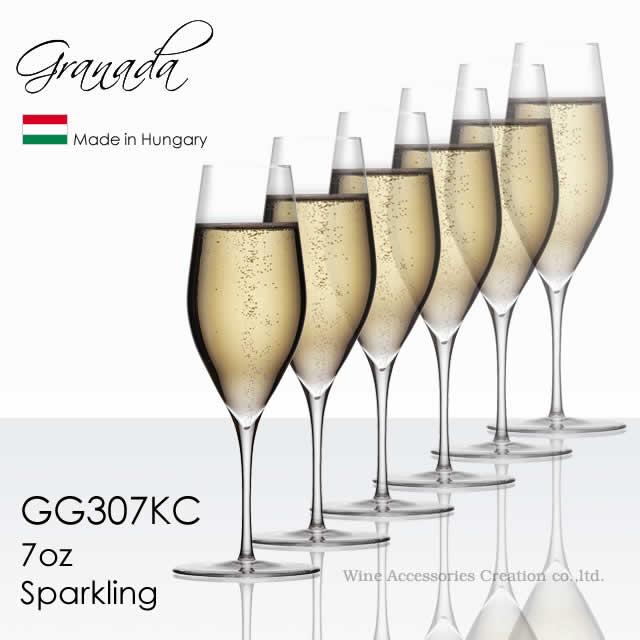 全体の高さを揃えたハンドメイドのワイングラス 木村硝子店 Granada グラナダ 7oz スパークリング 190ml 6脚セット【正規品】 GG307KCx6 ラッピング不可商品